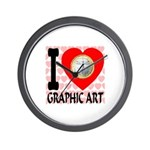I Love Graphic Art Wall Clock
