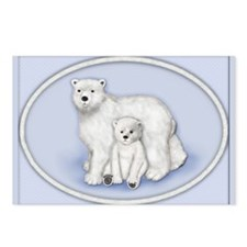 Polar Bears Oval Postcards (Package of 8)