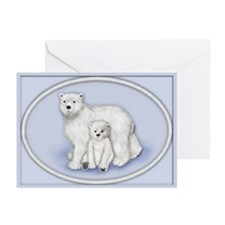 Polar Bears Oval Greeting Cards (Pk of 10)
