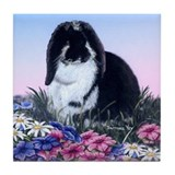 French Lop &amp; Flowers Tile Coaster