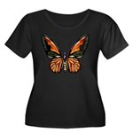 Butterfly Women's Plus Size Scoop Neck Dark T-Shir