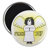 B&W Peace Joy Havana Silk Dog Christmas Magnet