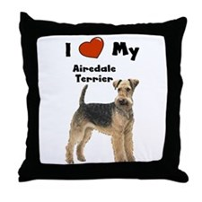 I Love My Airedale Terrier Throw Pillow