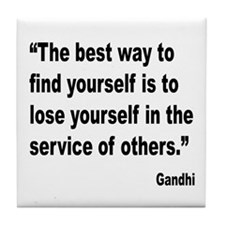 Gandhi Find Yourself Quote Tile Coaster