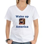 Wake Up America Women's V-Neck T-Shirt