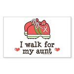 Breast Cancer Walk Aunt Rectangle Sticker