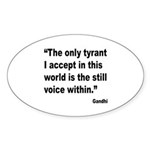 Gandhi Still Voice Quote Oval Sticker (10 pk)