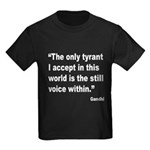 Gandhi Still Voice Quote (Front) Kids Dark T-Shirt