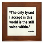 Gandhi Still Voice Quote Framed Tile
