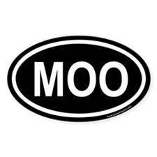MOO Black Euro Oval Decal