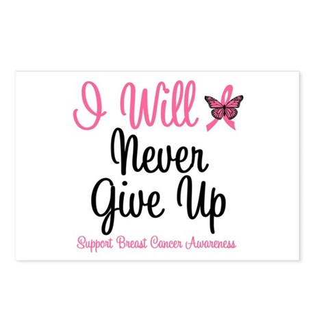 Breast Cancer Never Give Up Postcards (Package of