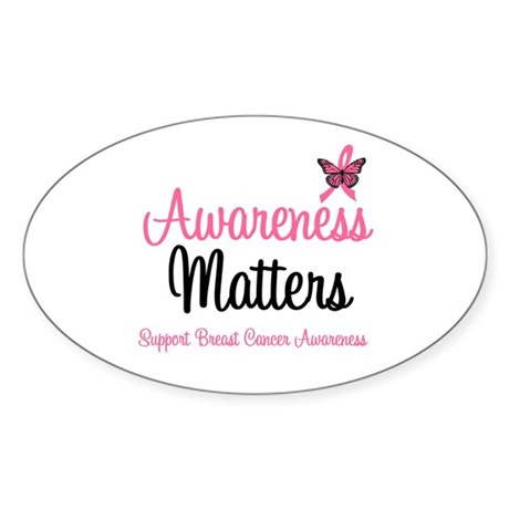 Breast Cancer Awareness Oval Sticker (10 pk)