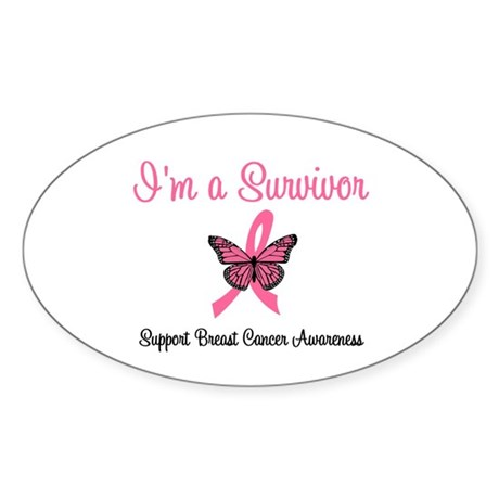 Breast Cancer Survivor Oval Sticker
