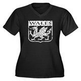 Wales Women's Plus Size V-Neck Dark T-Shirt