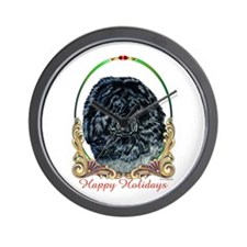 Black Chow Holiday Wall Clock