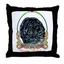 Black Chow Holiday Throw Pillow