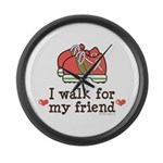 Breast Cancer Walk Friend Large Wall Clock