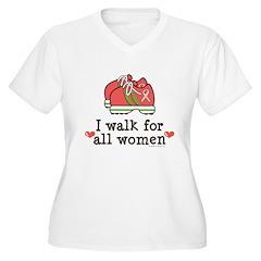 Breast Cancer Walk Women Women's Plus Size V-Neck