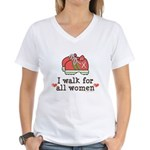 Breast Cancer Walk Women Women's V-Neck T-Shirt