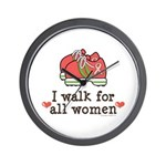 Breast Cancer Walk Women Wall Clock