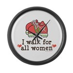 Breast Cancer Walk Women Large Wall Clock