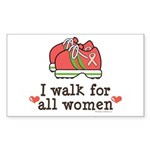 Breast Cancer Walk Women Rectangle Sticker 50 pk)