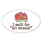Breast Cancer Walk Women Oval Sticker