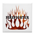 Firefighter Tribal Flames Tile Coaster