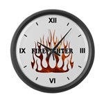 Firefighter Tribal Flames Large Wall Clock