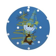 Funky Snowman Christmas Ornament (Round)