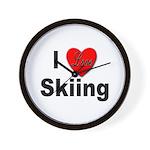 I Love Skiing Wall Clock