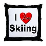 I Love Skiing Throw Pillow