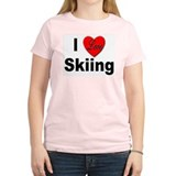 I Love Skiing Women's Pink T-Shirt