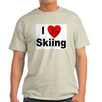 I Love Skiing (Front) Ash Grey T-Shirt