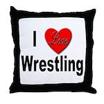 I Love Wrestling Throw Pillow