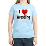 I Love Wrestling Women's Pink T-Shirt