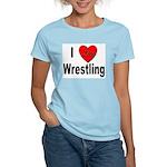 I Love Wrestling (Front) Women's Pink T-Shirt