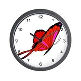 Red Flutters Wall Clock