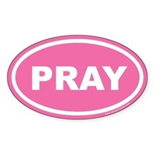 Pink Pray Oval Sticker (Euro)