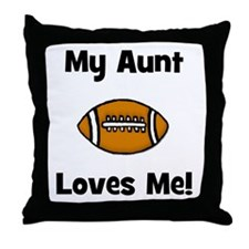 My Aunt Loves Me! Football Throw Pillow