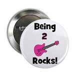 "Being 2 Rocks! pink 2.25"" Button"