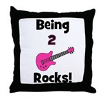 Being 2 Rocks! pink Throw Pillow