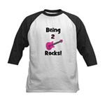 Being 2 Rocks! pink Kids Baseball Jersey