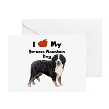 I Love My Bernese Mtn Dog Greeting Card