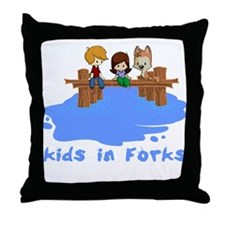 Kids in Forks Throw Pillow