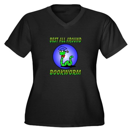 Best Bookworm Women's Plus Size V-Neck Dark T-Shir
