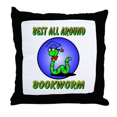 Best Bookworm Throw Pillow