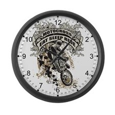 Eat, Sleep, Ride Motocross Large Wall Clock
