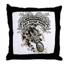 Eat, Sleep, Ride Motocross Throw Pillow