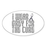 I Wear Grey For The Cure 16 Oval Decal